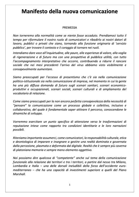 Manifesto della Nuova Comunicazione